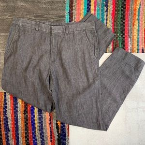 "Theory ""Marlo"" Linen Chambray Straight Leg Jeans"